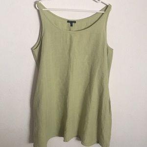 Eileen Fisher Green Linen Blend Dress W/ Pockets
